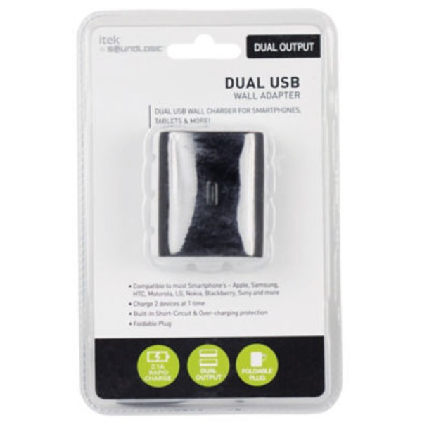 Itek Dual USB Wall Adapter Black