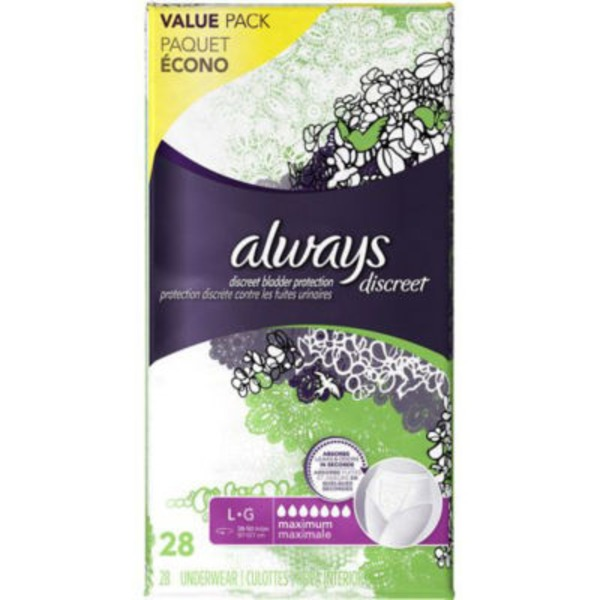 Always Discreet Always Discreet, Incontinence Underwear, Maximum Classic Cut, Large, 28 Count Feminine Care
