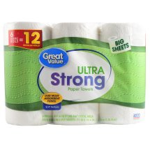 Great Value Paper Towels, Ultra Strong, 6 Double Rolls