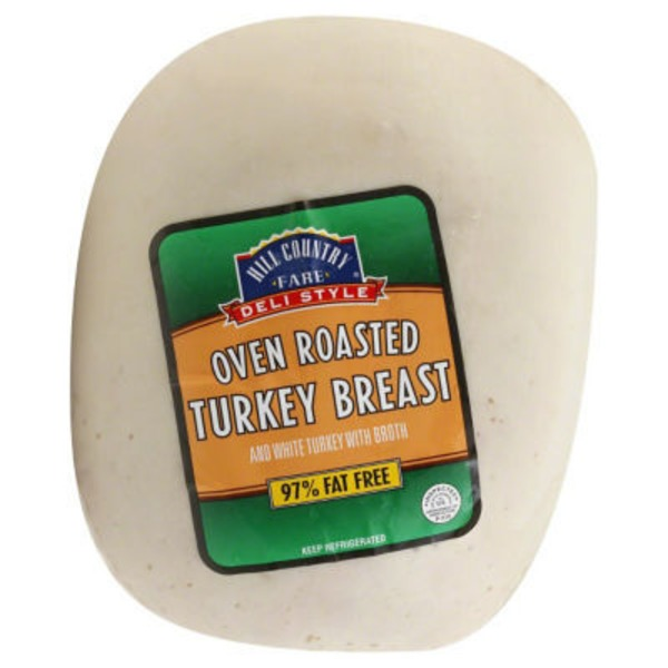 Hill Country Fare Deli Style Oven Roasted Turkey Breast &Amp; White Turkey With Broth
