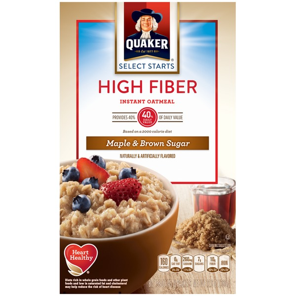 Quaker Oatmeal Select Starts High Fiber Maple & Brown Sugar Instant Oatmeal