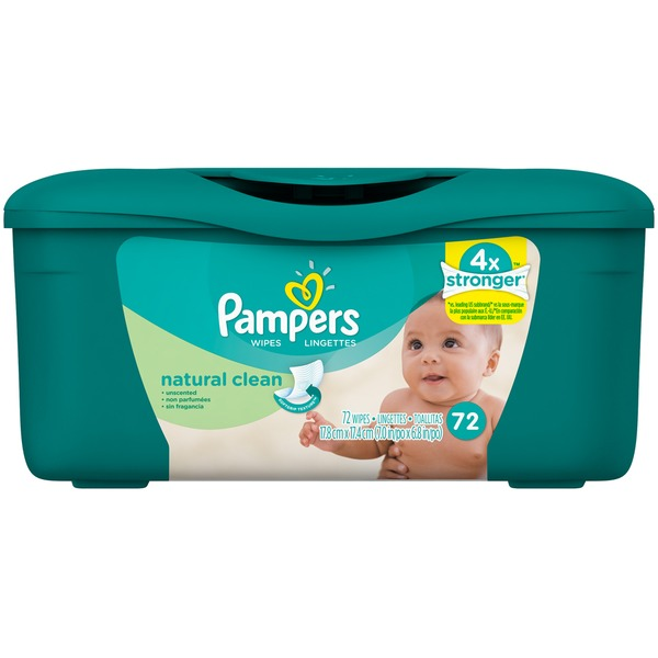 Pampers Natural Aloe Pampers Baby Wipes Natural Clean Tub 72 count  Baby Wipes
