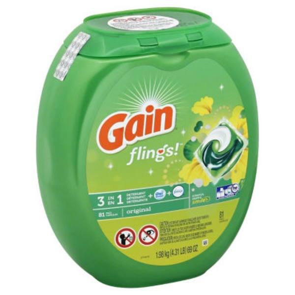 Gain Flings Laundry Detergent Pacs, Original Scent, 81 count Laundry