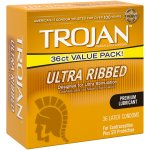 Trojan Ultra Ribbed Lubricated Latex Condoms - 36 ct