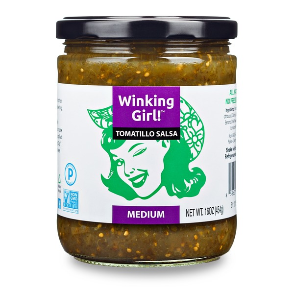 Winking Girl Salsa Medium Tomatillo Salsa