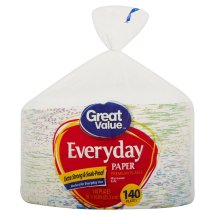 Great Value Everyday Paper Premium Plates, 10 1/16', 140 Count