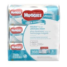 Huggies One & Done Refreshing Baby Wipes, Scented, 3 packs of 56 (168 count)