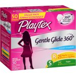 Playtex Gentle Glide 360º Unscented Multi-Pack Plastic Tampons Value Pack, 50 count