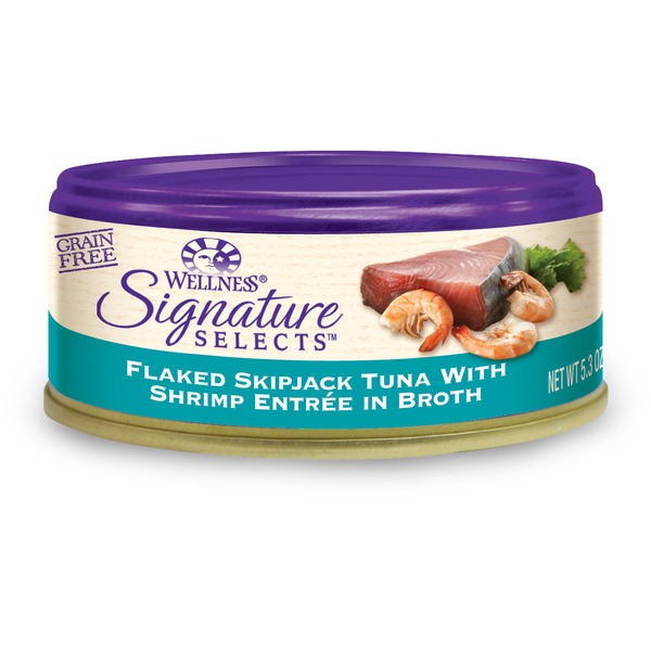 Wellness Signature Selects Grain Free Flaked Skipjack Tuna With Shrimp Entree Canned Cat Food