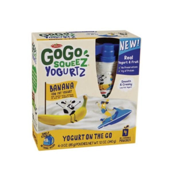 GoGo Squeez Yogurtz Low Fat Yogurt Banana - 4 CT