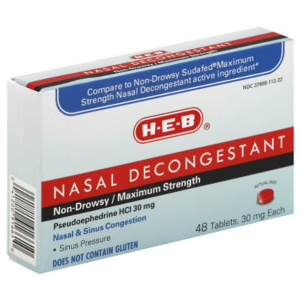 H-E-B Maximum Strength Pseudoephedrine Hci 30 Mg Nasal Decongestant Tablets