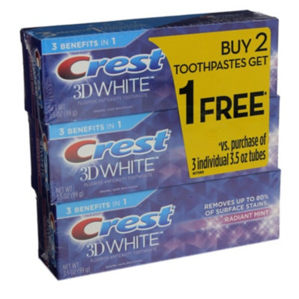 Crest 3D White Crest 3D White Radiant Mint Whitening Toothpaste, 3.5 oz, Buy 2 Get 1 Free Dentifrice