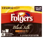 Keurig Hot Folgers Black Silk Dark Roast Coffee K-Cup Pods Value Pack, 0.28 oz, 36 count