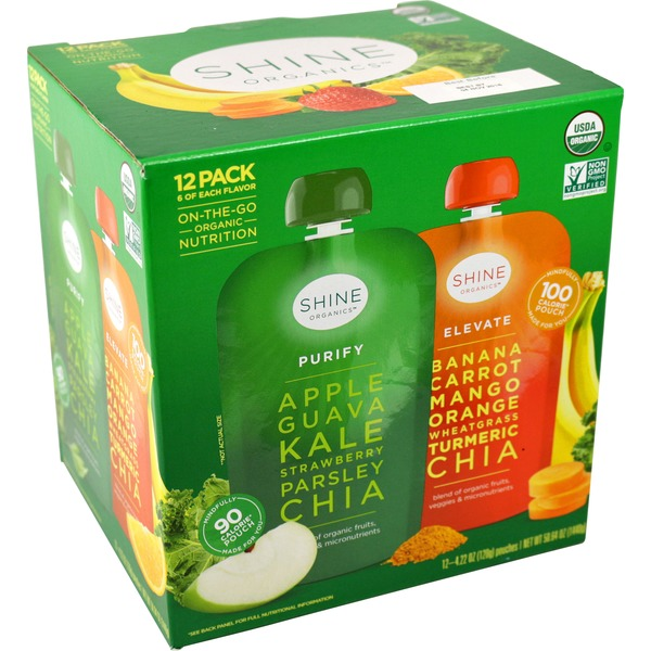 Shine Organics Apple Banana Chia Variety Pack Pouches