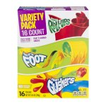 Betty Crocker Fruit Snacks, Fruit Roll-Ups, Fruit By The Foot and Fruit Gushers, Variety Snack Pack, 16 Pouches, 10.6 OZ