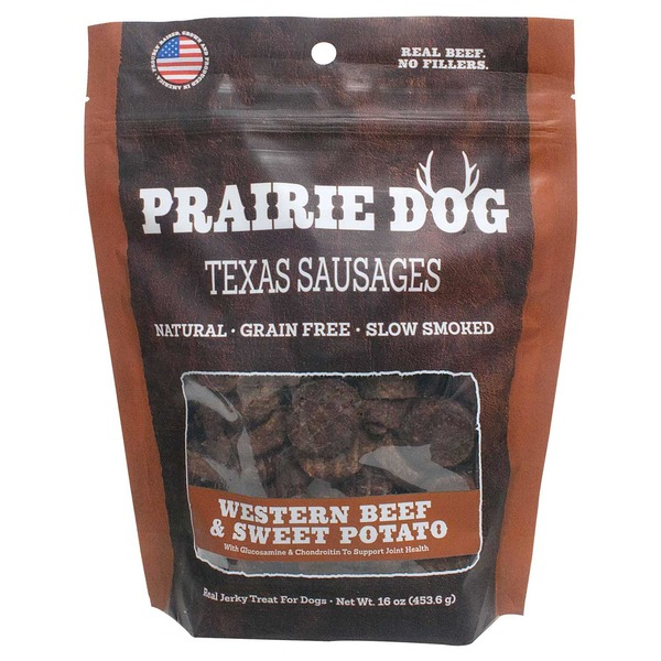 Prairie Dog Texas Sausages Natural Grain Free Slow Smoked Western Beef & Sweet Potato