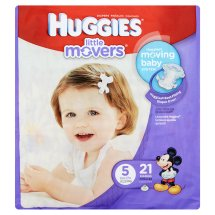 HUGGIES Little Movers Diapers, Size 5, 21 Diapers
