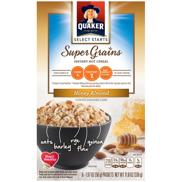 Quaker Oatmeal Select Starts Super Grains Honey Almond Instant Hot Cereal