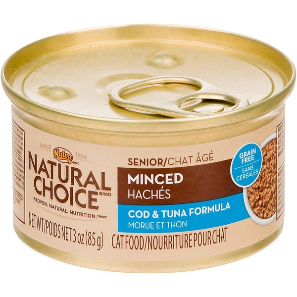 Nutro Natural Choice Minced Cod & Tuna Formula Canned Senior Cat Food Case Of 24