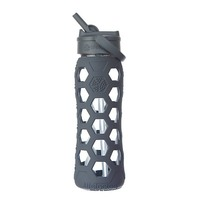 Lifefactory Glass 16 Oz Bottle With Straw Carbon