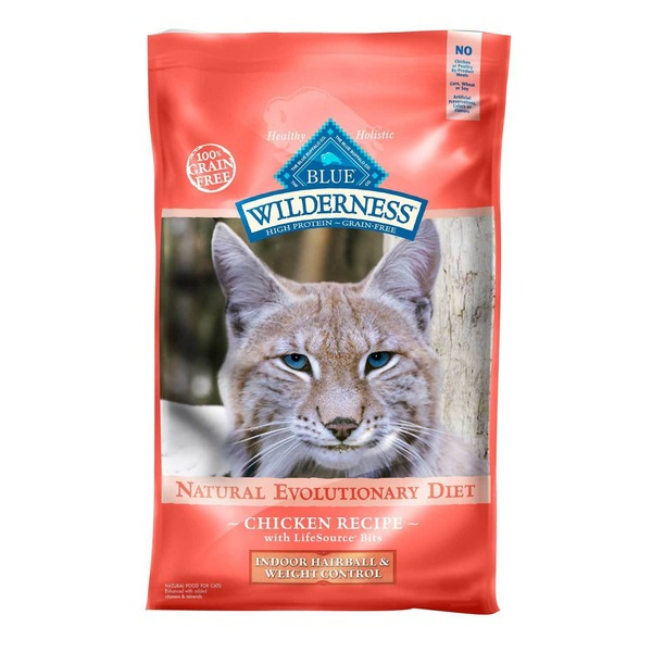 Blue Buffalo 100% Grain Free Wilderness Natural Evolutionary Diet Chicken Recipe Indoor Hairball & Weight Control Food for Cats