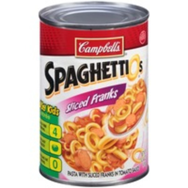 Spaghettios In Tomato Sauce with Sliced Franks Pasta