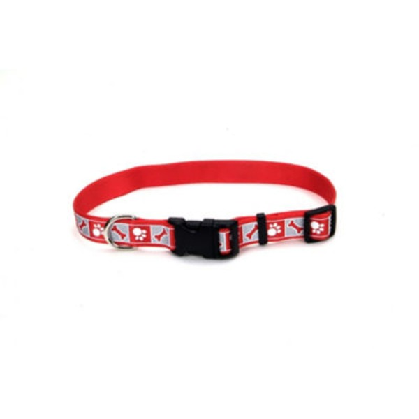 Coastal Pet Red With Reflective Bone Adjustable Nylon Collar