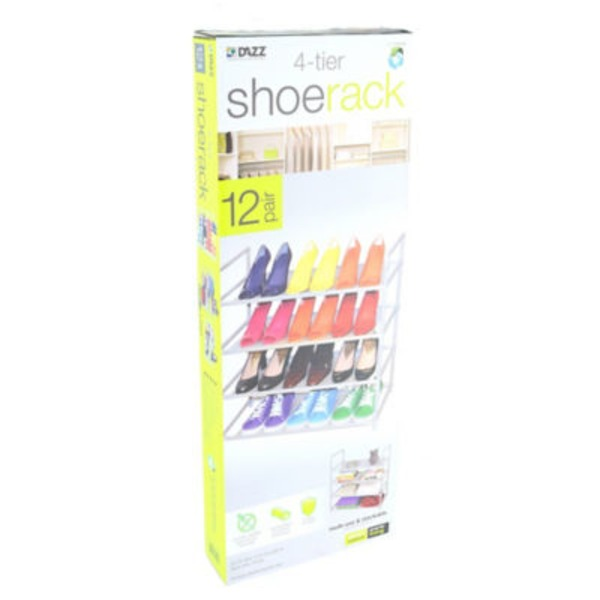 Dazz Expandable 2 Tier Shoe Rack, White