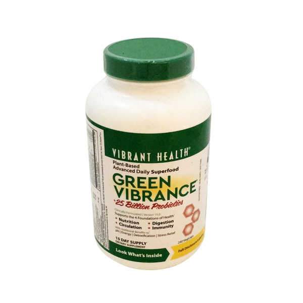 Vibrant Health Green Vibrance, +25 Billion Probiotics, Version 15.0, Vegicaps