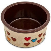 Harmony Heart Print Brown Ceramic Dog Bowl 3 Cups