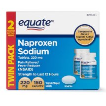 Equate Pain Relief Naproxen Sodium Tablets, 220 mg, 75 Ct, 2 Pk
