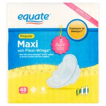 Equate Maxi Pads with Flexi-Wings, Regular, Unscented, 48 Ct
