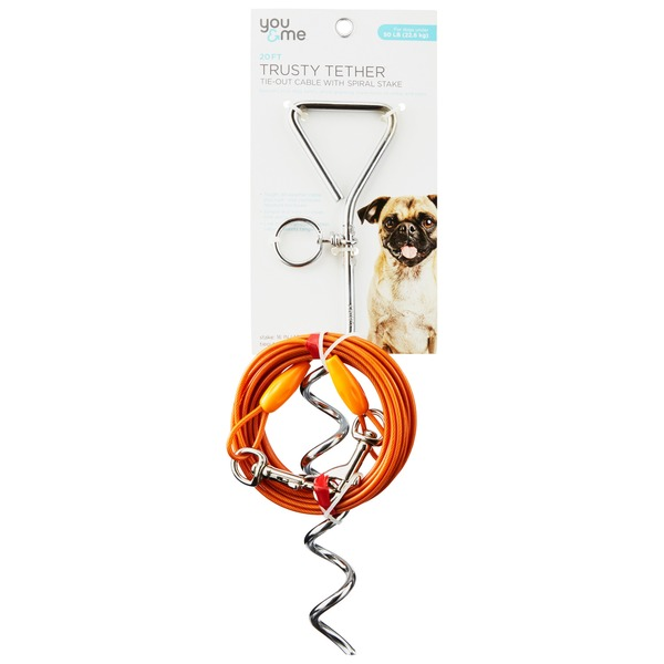 You & Me 20' Trusty Tether Tie Out Cable WIth Spiral Stake