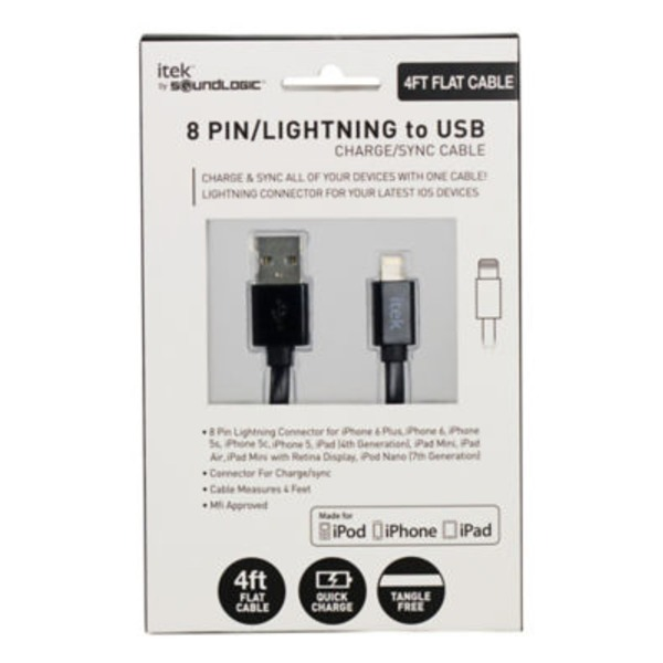 Itek 8 Pin/ Lightning To USB Black