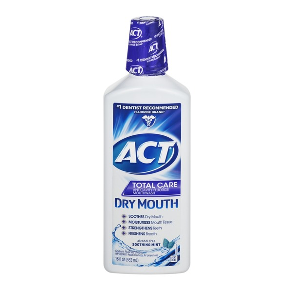 Act Dry Mouth Anticavity Fluoride Mouthwash with Xylitol Soothing Mint