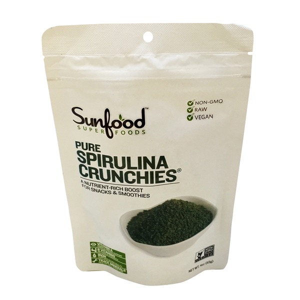 Sunfood Superfoods Pure Spirulina Crunchies Nutrient-Rich Boost