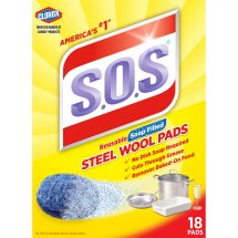 S.O.S Steel Wool Soap Scrubber Sponge Pads, 18 ct
