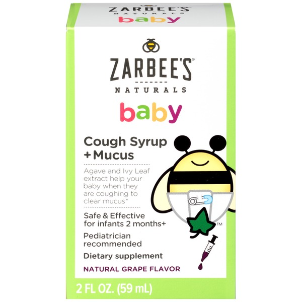 Zarbee's Naturals Baby Cough Syrup + Mucus Natural Grape Flavor Dietary Supplement