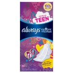 Always Radiant Teen Regular Pads with Wings, Unscented, (Choose your Count)