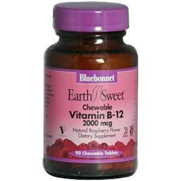 Bluebonnet Earth Sweet Chewable Vitamin B-12 Raspberry Flavor 2000 mcg