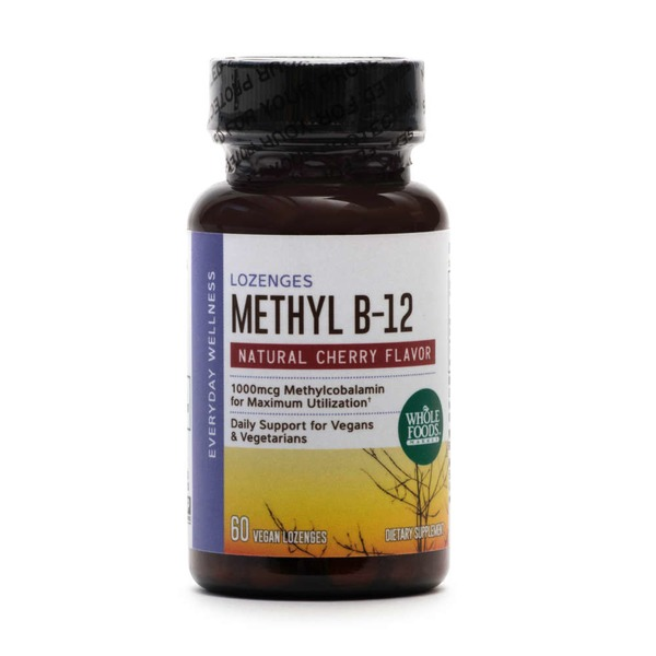 Whole Foods Market Methyl B-12 Vegan Lozenges Natural Cherry Flavor 1000 mcg