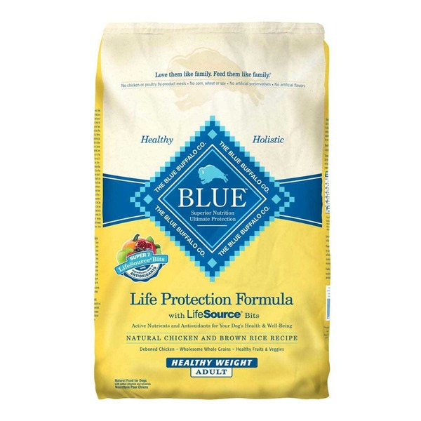 Blue Buffalo Food for Dogs, Natural, Life Protection Formula, Healthy Weight Adult, Natural Chicken and Brown Rice Recipe