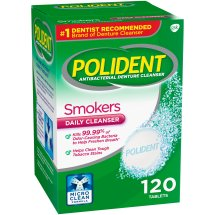 Polident® Smokers Triple Mint Freshness Antibacterial Daily Denture Cleanser Effervescent Tablets 120 ct Box
