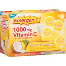 Emergen-C (30 Count, Coconut Pinapple Flavor) Dietary Supplement Fizzy Drink Mix With 1000mg Vitamin C, 0.32 Ounce Packets, Caffeine Free