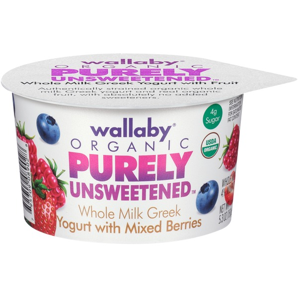 Wallaby Organic Purely Unsweetened Greek Whole Milk with Mixed Berries Yogurt