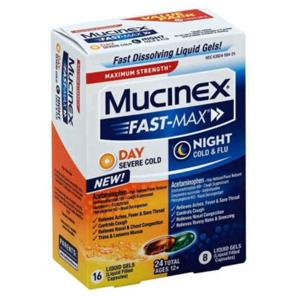 Mucinex Fast-Max Maximum Strength Day/Night Liquid Gels  Severe Cold & Flu