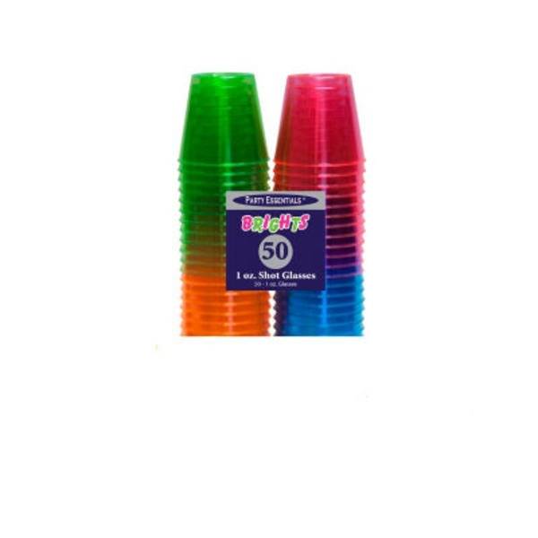Runge Plastic Assorted Neon Colors 1 Ounce Shot Glasses 50 Count