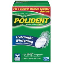 Polident Overnight Whitening Antibacterial Denture Cleanser Tablets, Triple Mint, 120 Ct