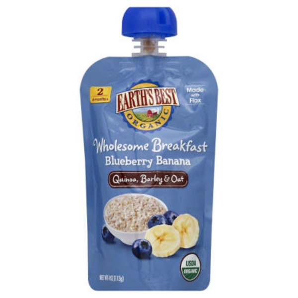 Earth's Best Organic Wholesome Breakfast Blueberry Banana Quinoa, Barley & Oat