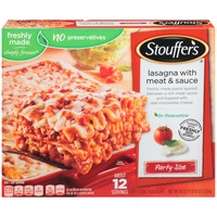 Stouffer's Party Size Freshly made pasta layered between a rich meat sauce and topped with Real Mozzarella cheese Lasagna with Meat & Sauce